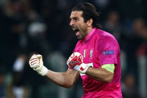 TURIN, ITALY - NOVEMBER 20:  Gianluigi Buffon of Juventus celebrates after Juventus score their second goal during the UEFA Champions League Group E match between Juventus and Chelsea at the Juventus Arena on November 20, 2012 in Turin, Italy.  (Photo by Clive Rose/Getty Images)