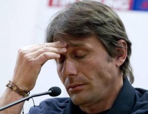L'allenatore della Juventus, Antonio Conte, durante la conferenza stampa del 19 maggio 2012 allo stadio Olimpico di Roma. ANSA/CLAUDIO PERI